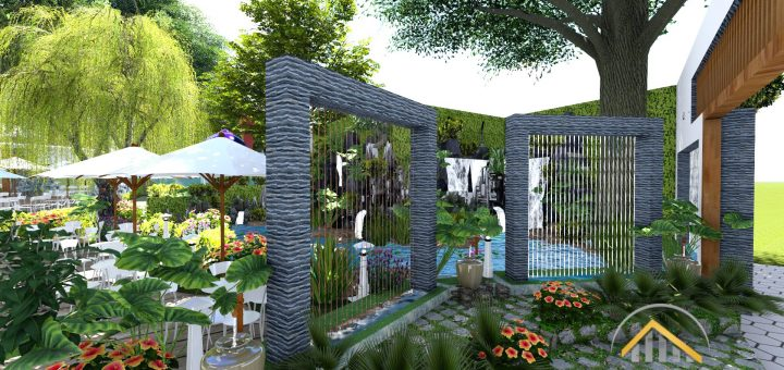 Thiết kế thi công Quán Cà Phê Sân Vườn đẹp